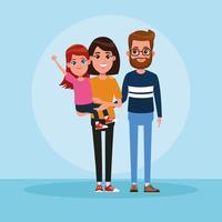 Familj med barntecknad film vektor