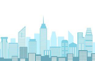 Vector Illustration der Stadtlandschaft mit den Stadtskylinen und -gebäude, die auf weißem Hintergrund lokalisiert werden