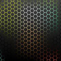 Abstraktes Muster mit bunten Hexagonen.