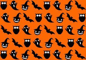 Seamless halloween mönster på orange bakgrund - vektorillustration