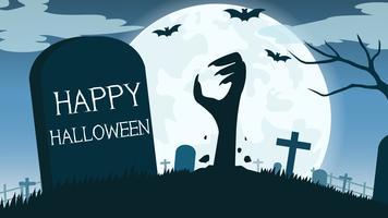 Halloween-Hintergrund mit der Zombiehand im Friedhof und im Vollmond - Vector Illustration