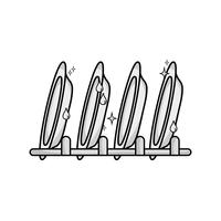Graustufen Porzellangeschirr Utensilien sauberer Design vektor