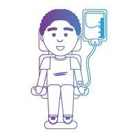 Linie Mann mit Blutspende Spendertransfusion vektor