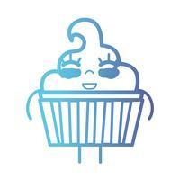 Linie kawaii niedliches glückliches süßes Muffin