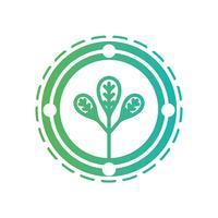 linje ekologi emblem med växt inne