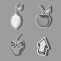 ställa in tropiska lappar fruktdesign vektor