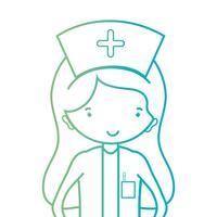 linje kvinna sjuksköterska med uniform och frisyr design