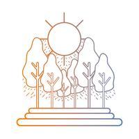 Linie Naturlandschaft mit Bäumen und Busch vektor