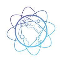 Linie Erde Planeten mit Umlaufbahnen Pfeil