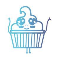 Linie kawaii niedliches glückliches süßes Muffin vektor
