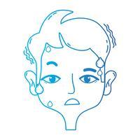 Linie Mann mit Kopfschmerzkrankheit, um Problem zu betonen
