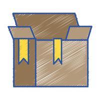 låda paket objekt öppen design vektor