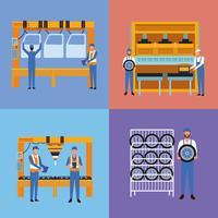 Arbeiter auf Autofabrik vektor