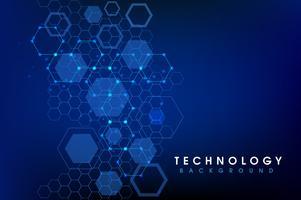 Abstrakter blauer Vektorhintergrund des Hexagons vektor