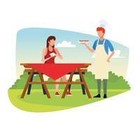 Familj grill picknick vektor