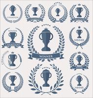 Trofé och utmärkelser märken och etiketter samling vektor