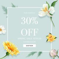 Våren sociala medier inramar nya blommor, dekorkort med den blom- färgrika trädgården, bröllop, inbjudan, design för akvarellvektorillustration