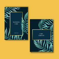 Tropisk kortinvitatoin designsommar med exotiska växter med blad, kreativ design för akvarellvektorillustrationmall