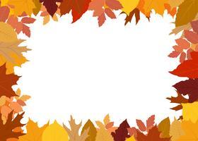 Vector Illustration des Rahmens gemacht vom bunten Herbstlaub auf weißem Hintergrund