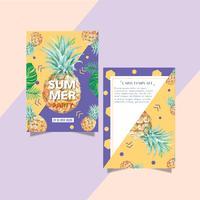 Sommarinbjudningskortdesignsemesterfest på strandhavssolen, kreativ design för akvarellvektorillustration