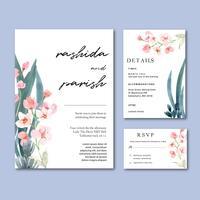 Blommigt trädgårdsinbjudankort för lyckligt bröllopskort, rsvp detalj utrymme layout vintage prydnad vacker, akvarell vektor illustration mall samling design
