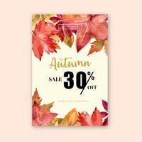 Herbstsaisonrahmen mit Blättern und Tier. Herbstgrußkarten perfekt für Druck, Einladung, Schablone, kreatives Aquarellvektor-Illustrationsdesign