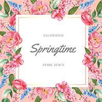 Vårramen som annonserar nya blommor, främjar, dekorkort med den blom- färgrika trädgården, bröllop, inbjudan, design för akvarellvektorillustration