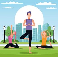 Menschen, die Yoga machen vektor
