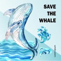 Global uppvärmning och föroreningar. Sociala medier reklamkampanj, spara världsmalldesign, kreativ design för akvarellvektorillustration vektor