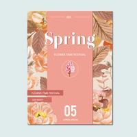 Vårblommor färska blommor, dekorkort med blommig färgrik trädgård, bröllop, inbjudan, akvarellvektorillustrationdesign vektor