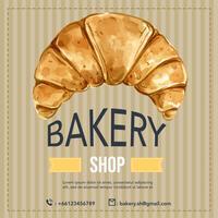 Bäckerei-Social-Media-Vorlage. Brot- und Brötchensammlung. Selbst gemachtes, kreatives Aquarellvektor-Illustrationsdesign
