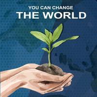 Global uppvärmning och föroreningar. Reklamkampanj för affischreklamblad, spara världsmalldesignen, kreativ design för akvarellvektorillustration vektor