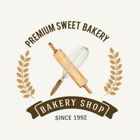 Logosymbol Bagerimall. Bröd- och bullekollektion. hemgjord, kreativ akvarellvektorillustration