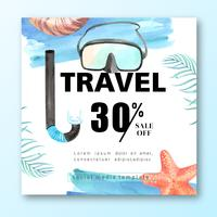 Social Media-Reise am Feiertagssommer das Strand Palmeferien-, See- und Himmelsonnenlicht, kreatives Aquarellvektor-Illustrationsdesign