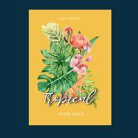 Tropischer Plakatdesignsommer mit dem Betriebslaub exotisch, kreatives Aquarellvektorillustrations-Schablonendesign