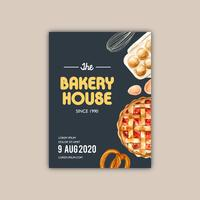 Bageri-affischmall. Bröd- och bullekollektion. hemgjord, kreativ akvarellvektorillustration