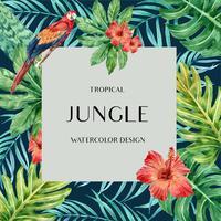 Sommar för tropisk ramgränsdesign med exotiska växter med blad, kreativ design för akvarellvektorillustrationmall