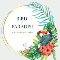 Sommar för tropisk kransvirveldesign med exotiska växter för bladverk, kreativ design för mallar för akvarellvektorillustration