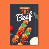 Snabbmatrestaurangaffischdesign för dekorrestaurang ser aptitretande mat, malldesign, kreativ design för akvarellvektorillustration