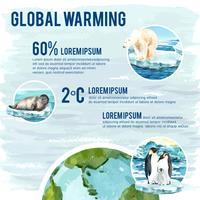 Globale Erwärmung und Verschmutzung, speichern die Welt, Infographic-Datenstatistikgeschenk, kreatives Aquarellvektorillustrations-Schablonendesign