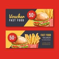 Snabbmat Gif-kupongrabatt för meny förrättmat, malldesign, kreativ design för akvarellvektorillustration