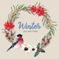 Blühender Kranzmit blumenrahmen des Winters elegant für Dekorationsweinlese schönes, kreatives Aquarellvektor-Illustrationsdesign