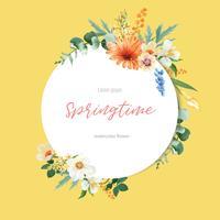 Färska blommor för vårkransram, dekorkort med blommig färgrik trädgård, bröllop, inbjudan, design för akvarellvektorillustration