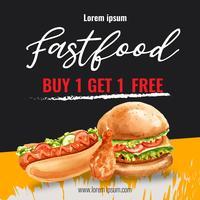 Fast-Food-Restaurant Social-Media-Werbung. Feldgrenzhintergrundmenü-Listenaperitiflebensmittel, Schablonendesign, kreatives Aquarellvektor-Illustrationsdesign