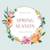 Frische Blumen des Frühlingskranzrahmens, Dekorkarte mit buntem mit Blumengarten, Hochzeit, Einladung, Aquarellvektor-Illustrationsdesign