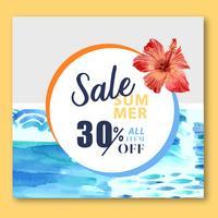 Sommar sociala medier reklam semester på försäljning rabatt. semestertid, kreativ design för akvarellvektorillustration