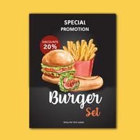 Schnellrestaurantplakatdesign für appetitanregendes Lebensmittel des Dekorrestaurantblickes, Schablonendesign, kreatives Aquarellvektor-Illustrationsdesign