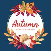 Herbstsaison-Plakatplandesign mit Blättern und Tier. Herbstgrußkarten perfekt für Druck, Einladung, Schablone, Aquarellvektor-Illustrationsdesign