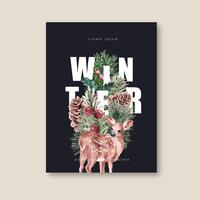 Blühendes mit Blumenplakat des Winters, Postkarte elegant für die schöne Dekorationsweinlese, kreatives Aquarellvektor-Illustrationsdesign