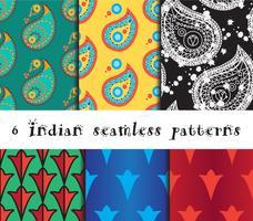 Sömlösa indiska mönsteruppsättning vektor